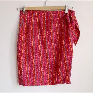 90s side tie high waist mini wrap skirt